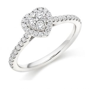 Brilliant Heart Shaped Diamond Cluster Ring