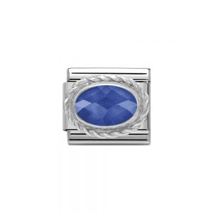 Nomination Classic Faceted Blue Zirconia Charm - Sterling Silver Twist Setting