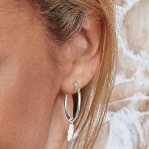 Annie Haak Feather Silver Hoop Earrings E0149