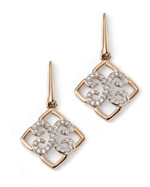 Elements Gold 9ct Yellow Gold Diamond Lace Earrings GE2083