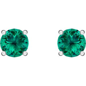 Attract Stud Pierced Earrings, Green, Rhodium plated 5512384
