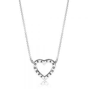 Sparkling Open Heart Necklace - 590534CZ