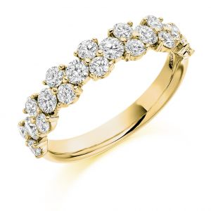 Raphael Collection Half Eternity Ring - Claw Set Cluster