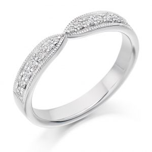 Raphael Collection Half Eternity Ring - Curved Shape With Mill Grain Edge