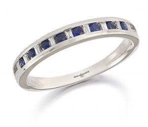 Brown & Newirth Sapphire & Diamond Half Eternity Ring