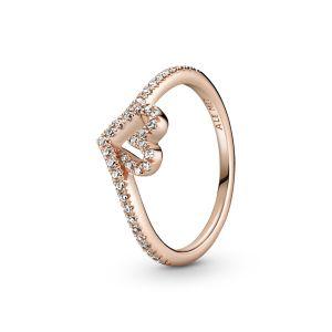 Pandora Sparkling Wishbone Heart Ring-189302C01