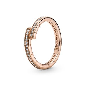 Pandora Sparkling Overlapping Ring - 14K Rose gold-plated