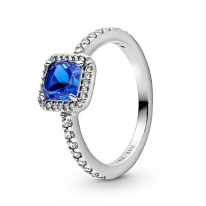 Pandora Blue Square Sparkle Halo Ring 198863C02