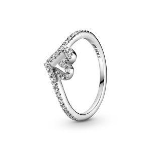 Pandora Sparkling Wishbone Heart Ring-199302C01