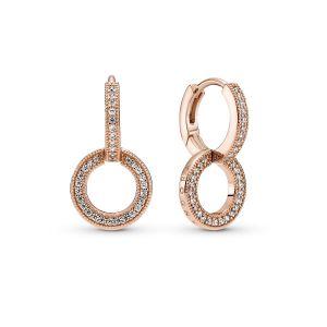 Pandora Sparkling Double Hoop Earrings - 14K Rose gold-plated 289052C01