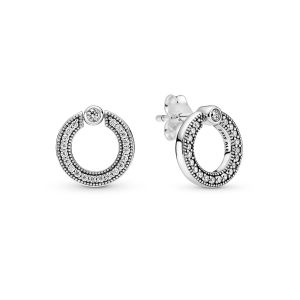 Pandora Pavé and Logo Circle Reversible Stud Earrings 299486C01