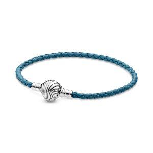 Pandora Moments Seashell Clasp Turquoise Braided Leather Bracelet 598951C01