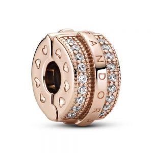 Pandora Rose Sparkling Pavé Lines & Logo Clip Charm 789042C01