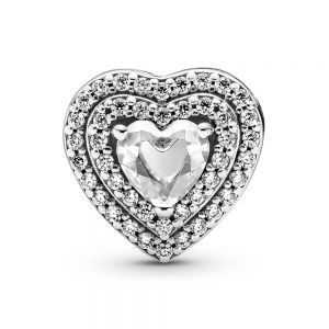 Pandora Sparkling Levelled Hearts Charm 799218c01