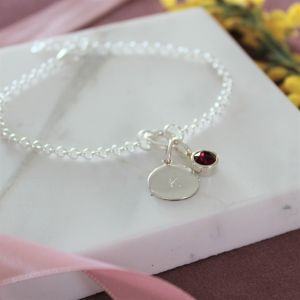 Sterling Silver Charm Bracelet - Birthstone and Disc