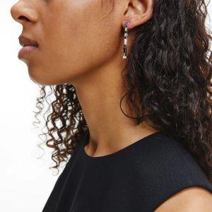 Calvin Klein Silver Tone Tune Stud Drop Earrings