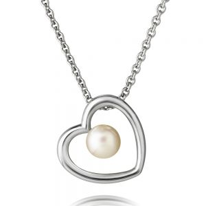 Jersey Pearl Kimberley Selwood Silver and Pearl Heart Pendant 1605839