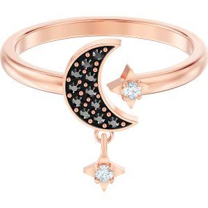Swarovski Symbolic Moon Motif Ring, Black, Rose Gold Plating