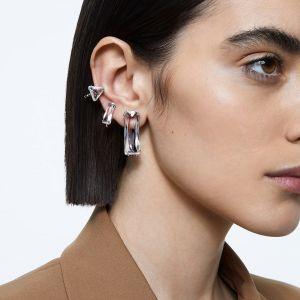 Swarovski Mesmera Single Clip Earring Set Baguette Cut - White with Rhodium Plating