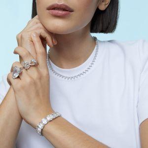 Swarovski Mesmera Asymmetrical Ring - White with Rhodium Plating 5610376 5600856  5610378