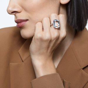 Swarovski Mesmera Rectangle Ring - White with Rhodium Plating