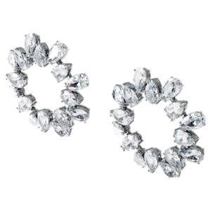 Swarovski Millenia Ear Cuff Graduated Crystals - White with Rhodium Plating