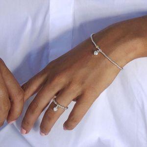 Annie Haak Mini Charm Silver Ring - Crystal Heart R0114
