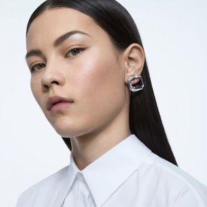 Swarovski Mesmera Single Square Cut Crystal Earring - White with Mixed Metal Finish-5600756