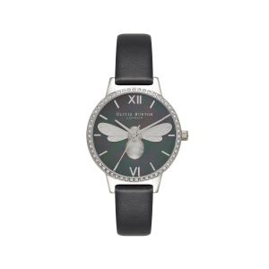 Olivia Burton Lucky Bee Midi Black Mother of Pearl and Silver Watch OB16BB13