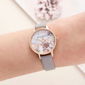 Olivia Burton Marble Floral and Rose Gold Watch OB16CS14