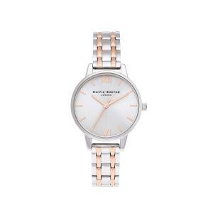Olivia Burton Midi Silver and Rose Gold Link Bracelet Watch OB16EN01