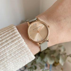 Olivia Burton Midi Rose Gold and Grey Leather Strap Watch OB16EN11