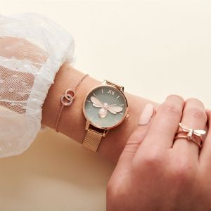 Olivia Burton Lucky Bee Grey Dial and Rose Gold Mesh Watch OB16FB10