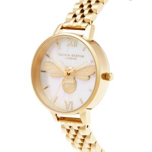 Olivia Burton Lucky Bee Mother of Pearl Dial and Gold Bracelet OB16FB18