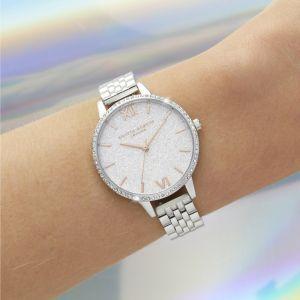 Olivia Burton White Sparkle Bezel Rose Gold and Silver Watch OB16GD68