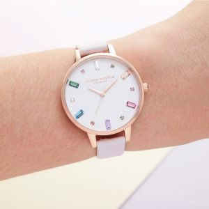 Olivia Burton Rainbow Baguette Stone Blossom and Rose Gold Watch OB16RB22