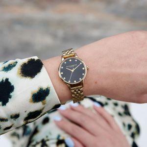 Olivia Burton Midi Black Sunray and Gold Bracelet Watch  OB16SE17