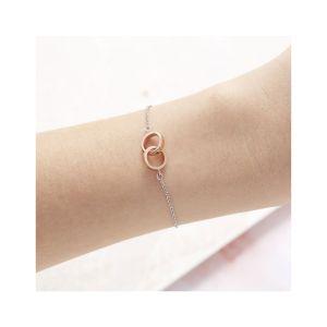 Olivia Burton Classic Interlink Chain Bracelet Silver and Rose Gold OBJENB15B
