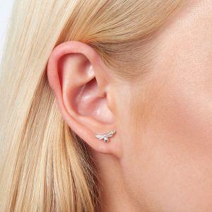 Olivia Burton Lucky Bee Stud Earrings Silver OBJAME22N