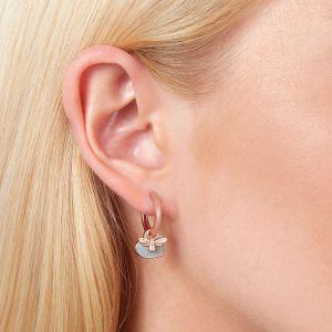 Olivia Burton You Have My Heart Huggie Hoop Earrings Grey and Rose Gold