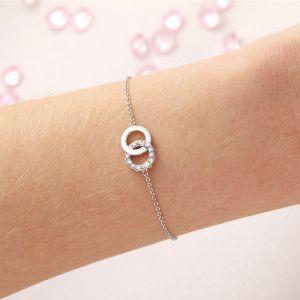 Olivia Burton Bejewelled Classics Rainbow Interlink Chain Bracelet Silver OBJRBB01