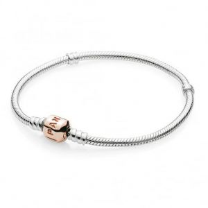 Pandora Rose Barrel Clasp Moments Snake Chain Bracelet-580702-16, 17, 18, 19, 20, 21