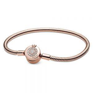 Pandora Moments Sparkling Crown O Snake Chain Bracelet-589046c01-16,17,18, 19, 20, 21