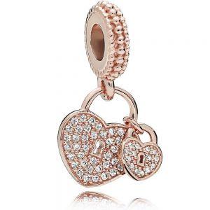 Pandora Rose Pavé Heart Padlocks Dangle Charm - 781807CZ