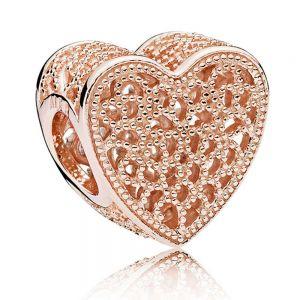 Pandora Filigree & Beaded Heart Charm - 781811