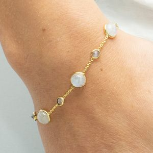 Sarah Alexander Shoreline Moonstone Cabuchon and Chain Bracelet