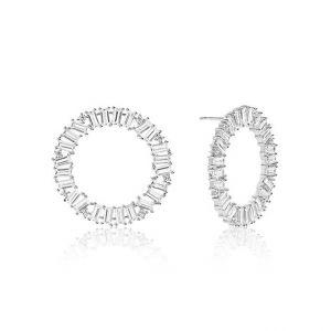 Sif Jakobs Antella Circolo Grande Earrings - Silver and White Zirconia