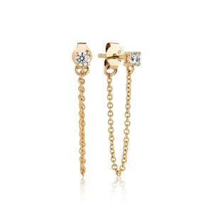Sif Jakobs Princess Piccolo Lungo Earrings - Gold with White Zirconia