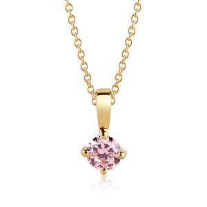 Sif Jakobs Pendant, Princess Piccolo Round, 18K Gold Plating with Pink Zirconia SJ-P4MMRD-PK(YG)/45