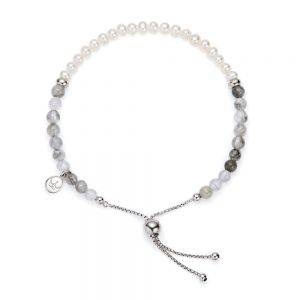 Jersey Pearl Sky Bracelet, Bar Style in Cloudy Quartz, Pearl and Silver